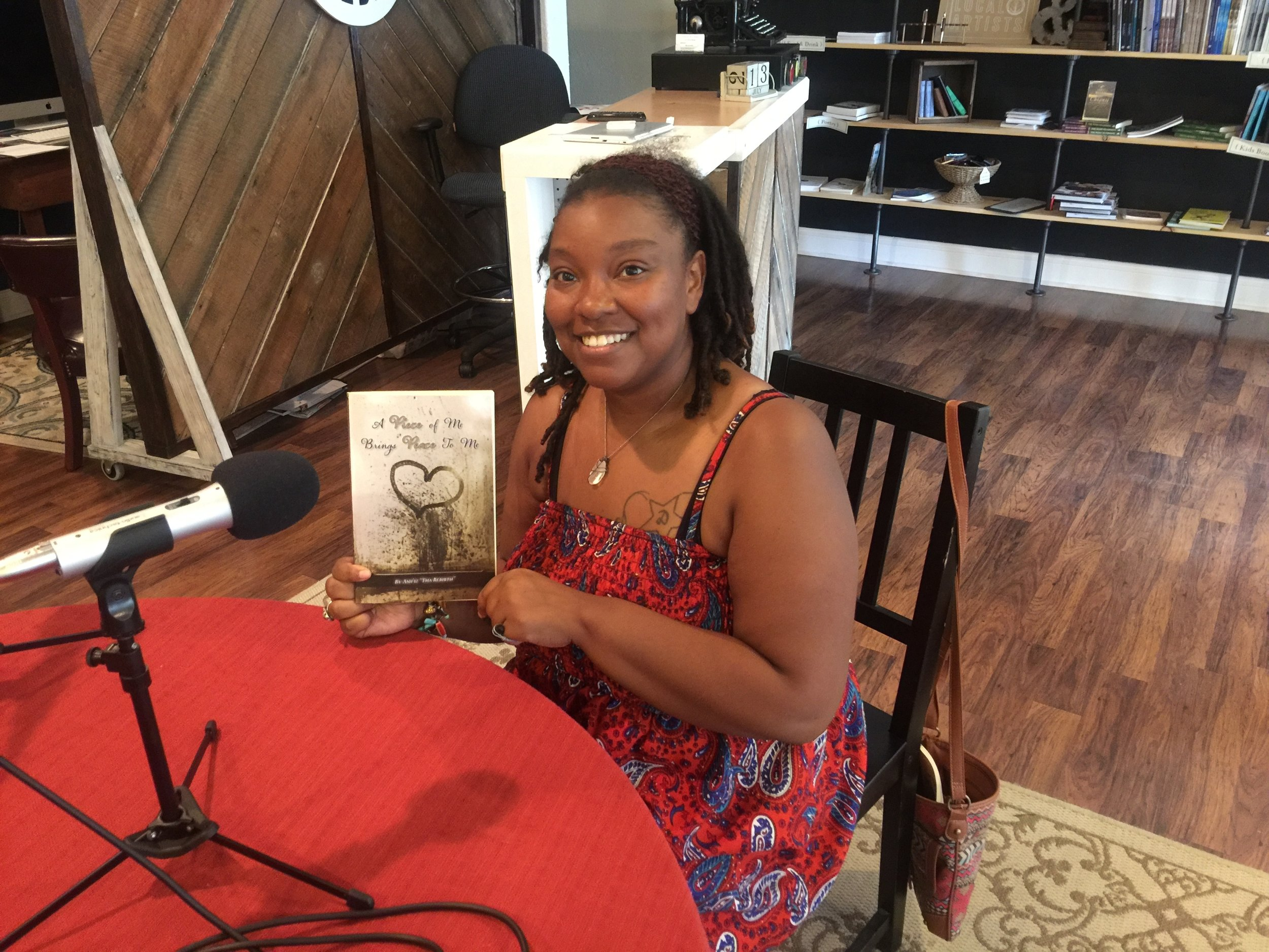 Ashley Cuffee and her newly released book of poetry. A Piece of Me Brings Peace To Me.