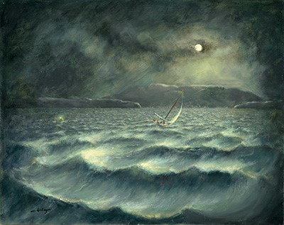 """THE NOR'EASTER"" is a painting by Ed Challenger which inspired Cary's poem by the same name which you can hear in the above reading clip. (Painting used with and by the artist's permission.)"