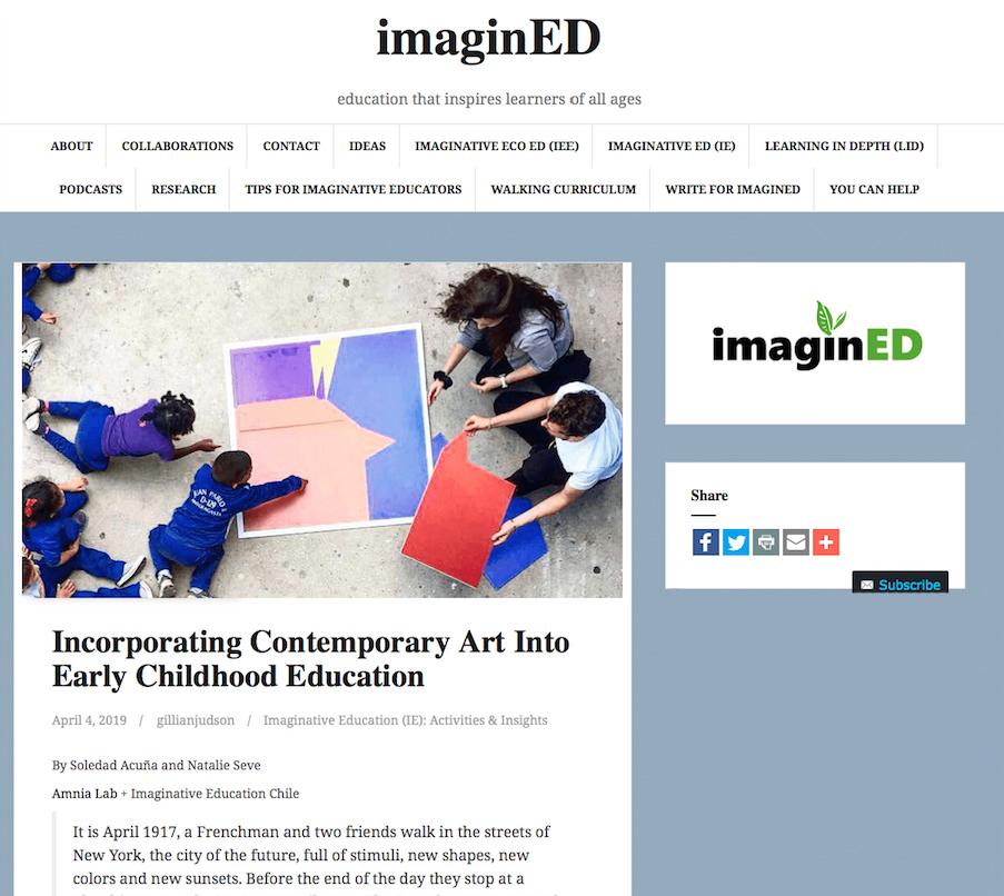 Incorporating Contemporary Art Into Early Childhood Education - Autor: Natalie Sève + Soledad AcuñaAmnia Lab + Educación ImaginativaTipo de Archivo: ArtículoAño: 2019Ver PDF InglésVer PDF Castellano