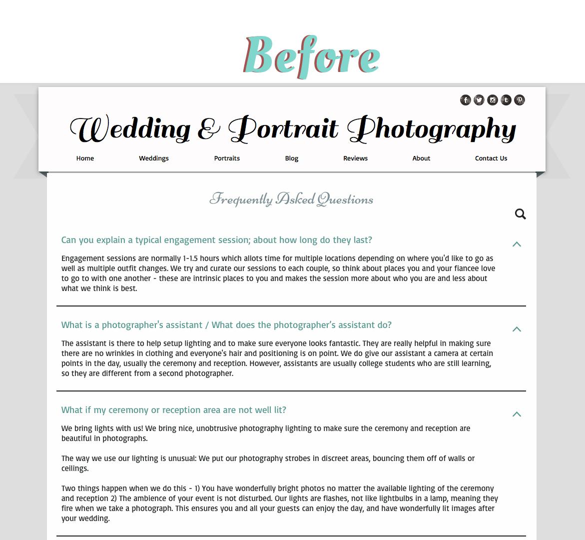 Wedding FAQ Page