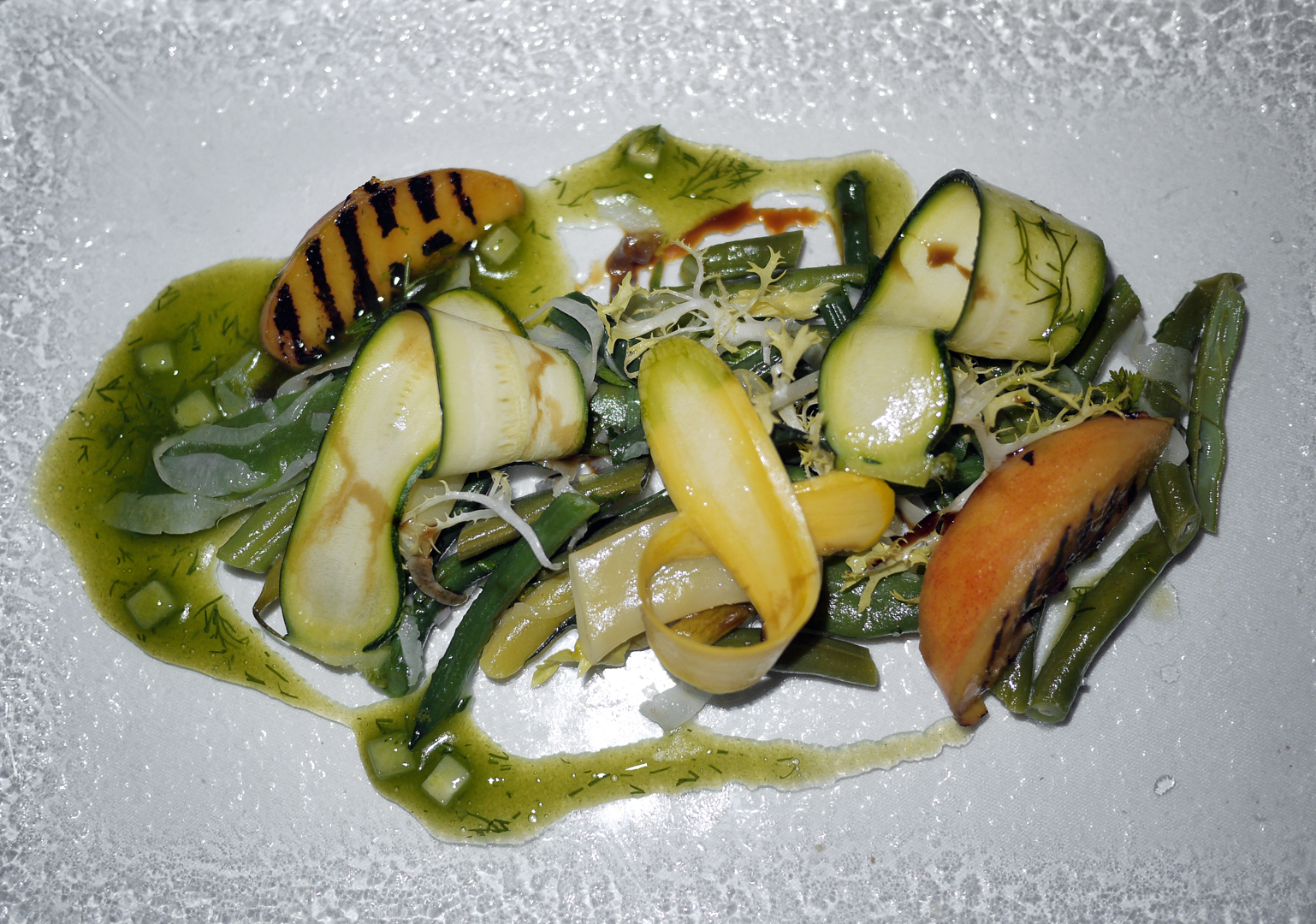 Grilled Peaches and Summer Beans with fennel, zucchini and squash