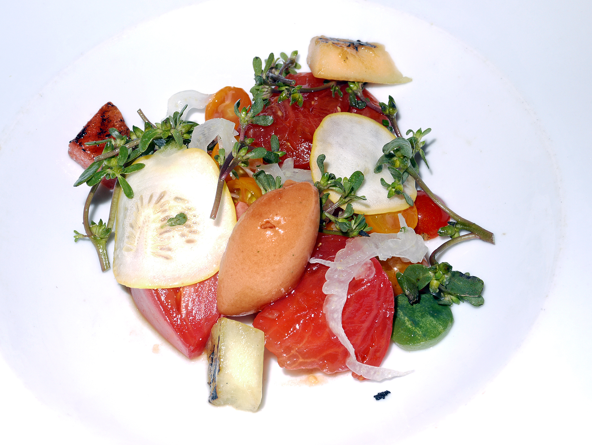 Heirloom Tomato Salad with cucumbers and purslane