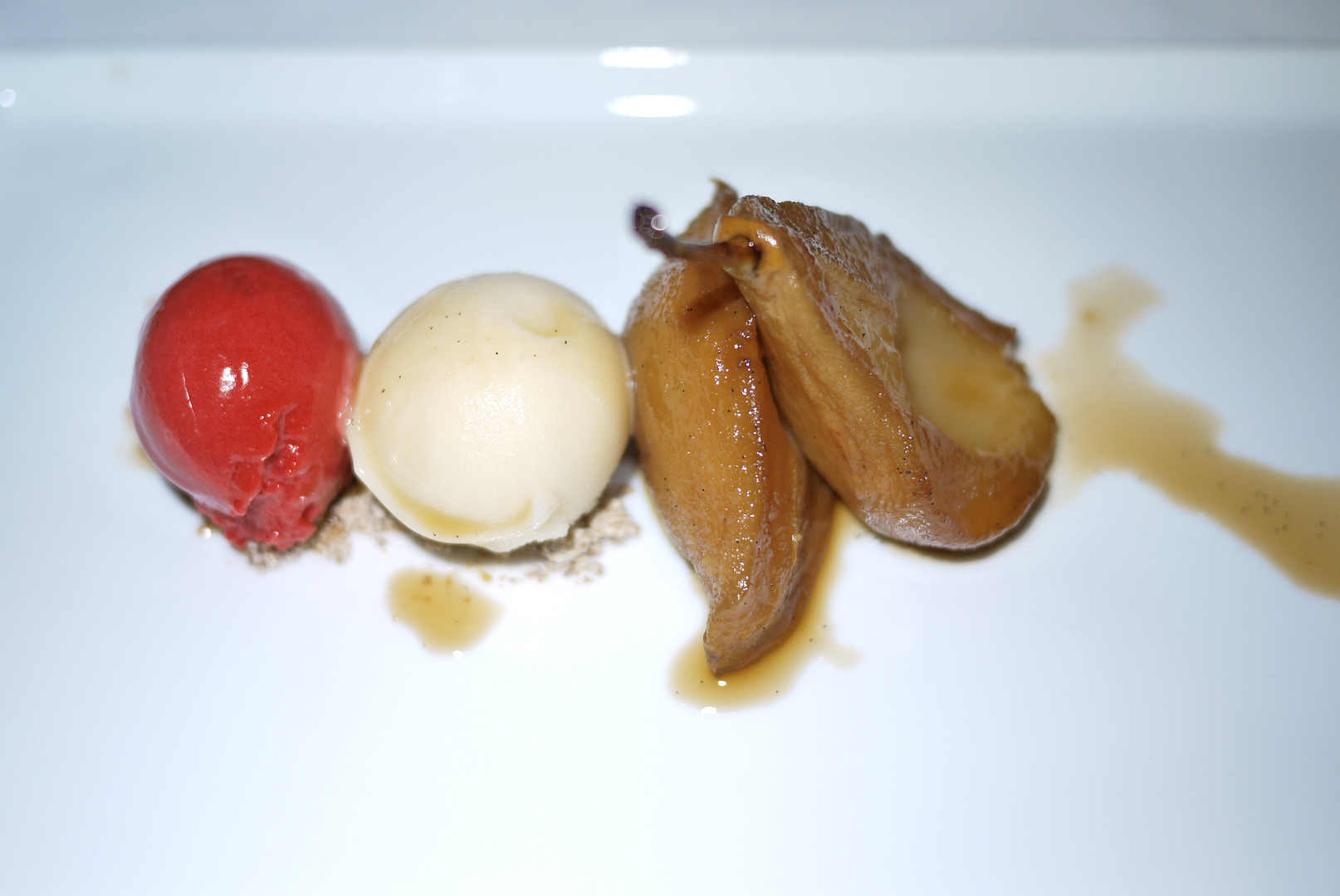 Bartlett Pear with an assortment of sorbet