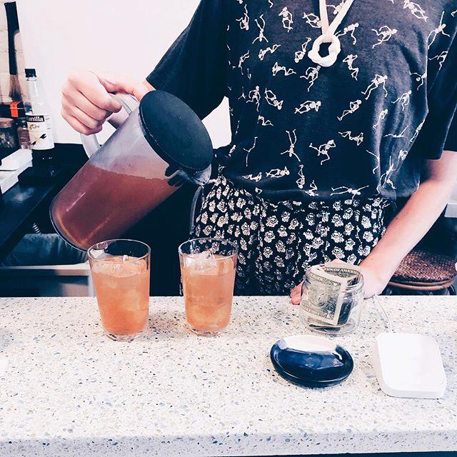 iced darjeeling tea w honey and lemon 🍋 @headhi_ny mmmm