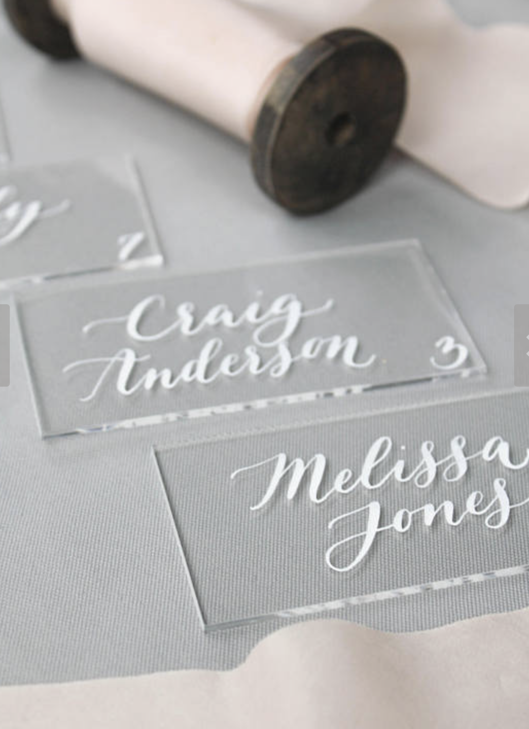 Acrylic Place Cards with Calligraphy