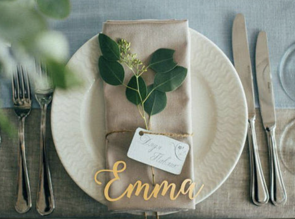 laser cut wooden place cards