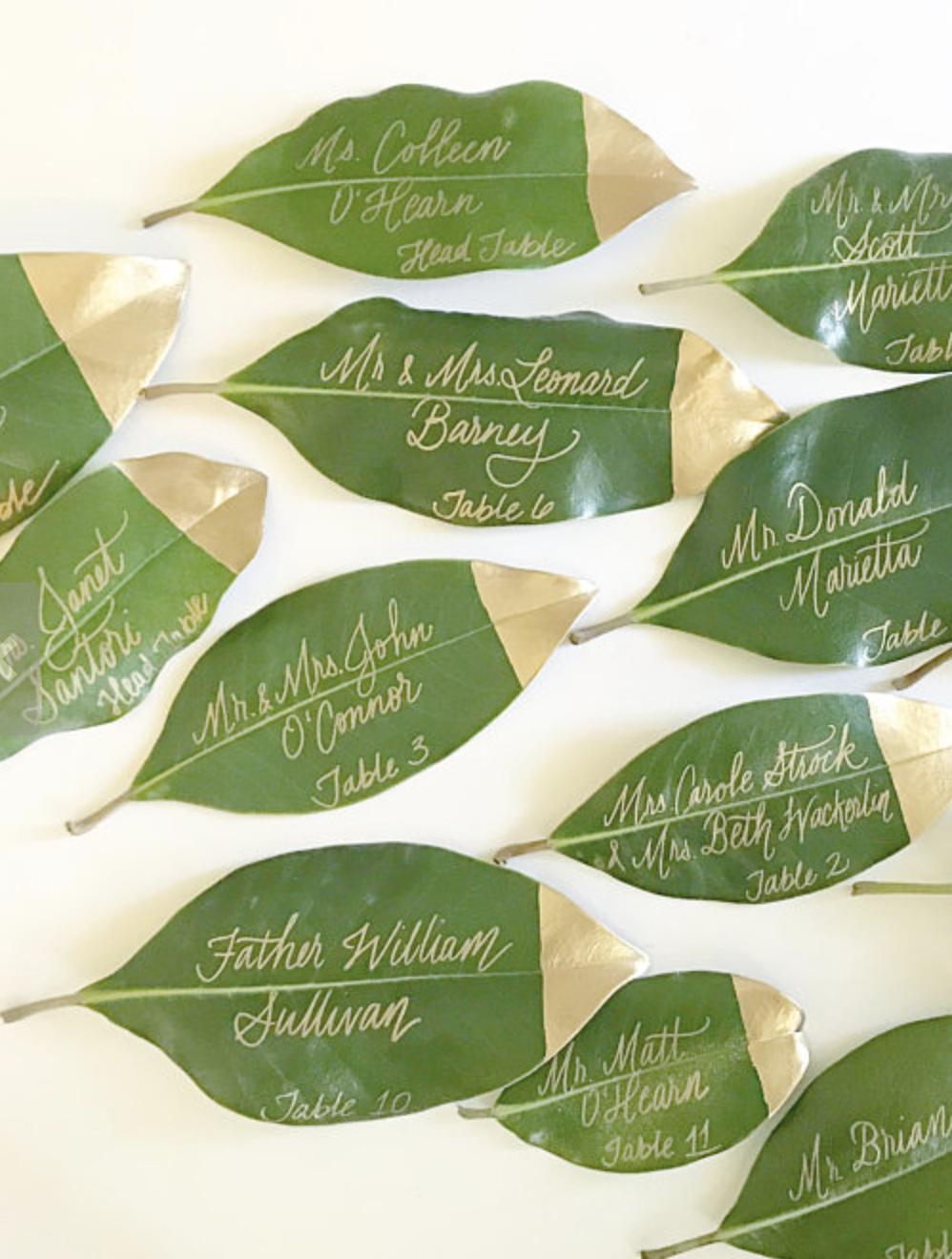 Magnolia leaf place card