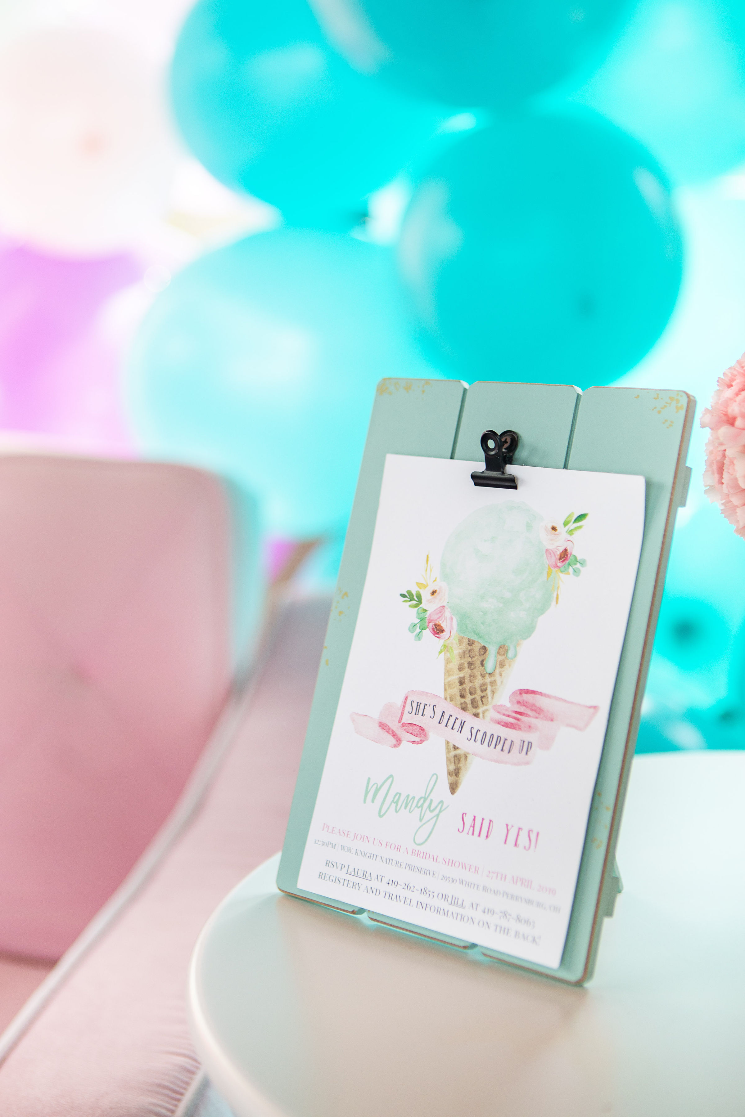 She's Been Scooped Up Bridal Shower with a DIY Balloon Wall and Pastel Color Theme