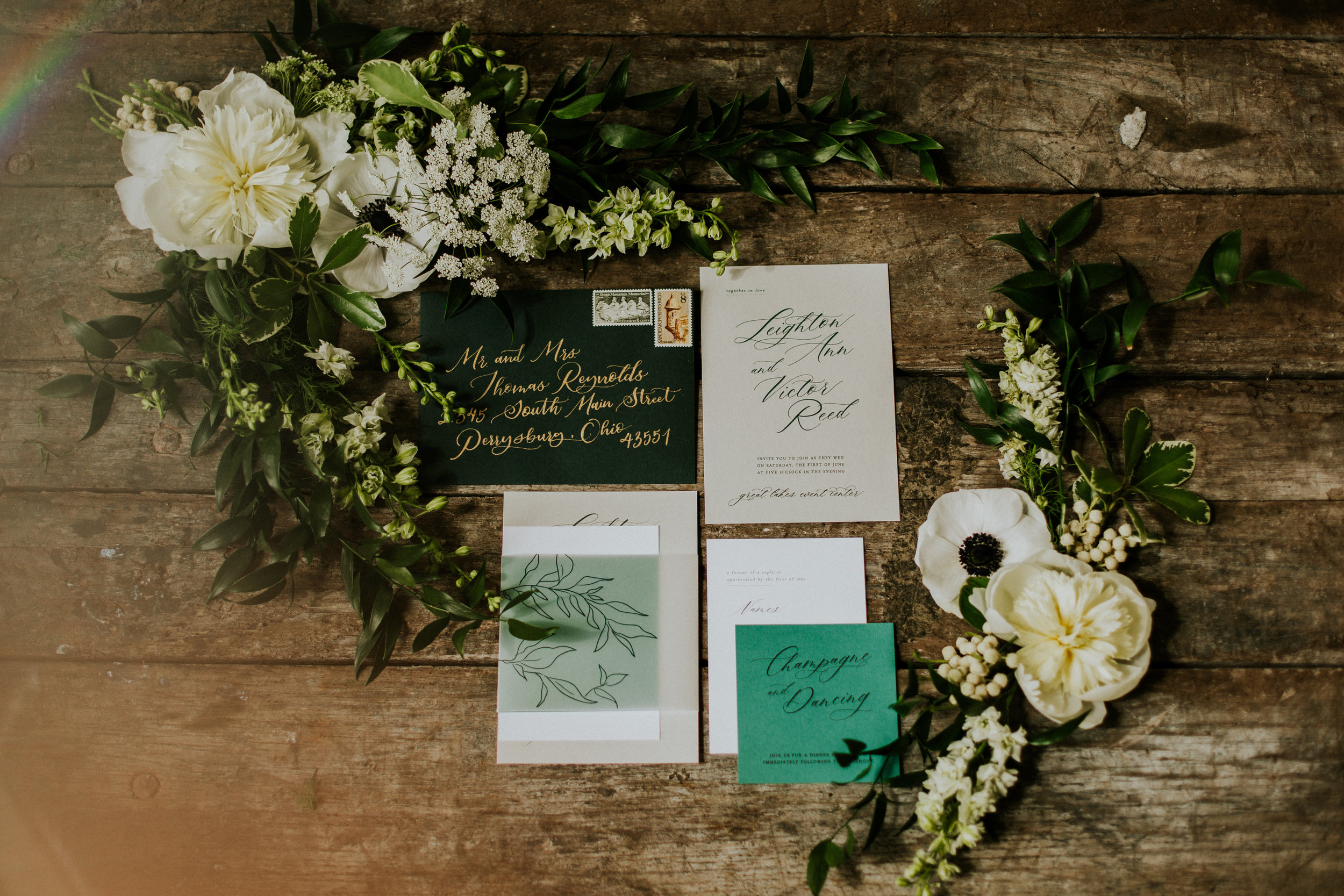 Green Wedding Stationery Ideas featured in Toledo Wedding Guide- COLOR CODED Styled by Event Prep and Photographed by Adore Wedding Photography