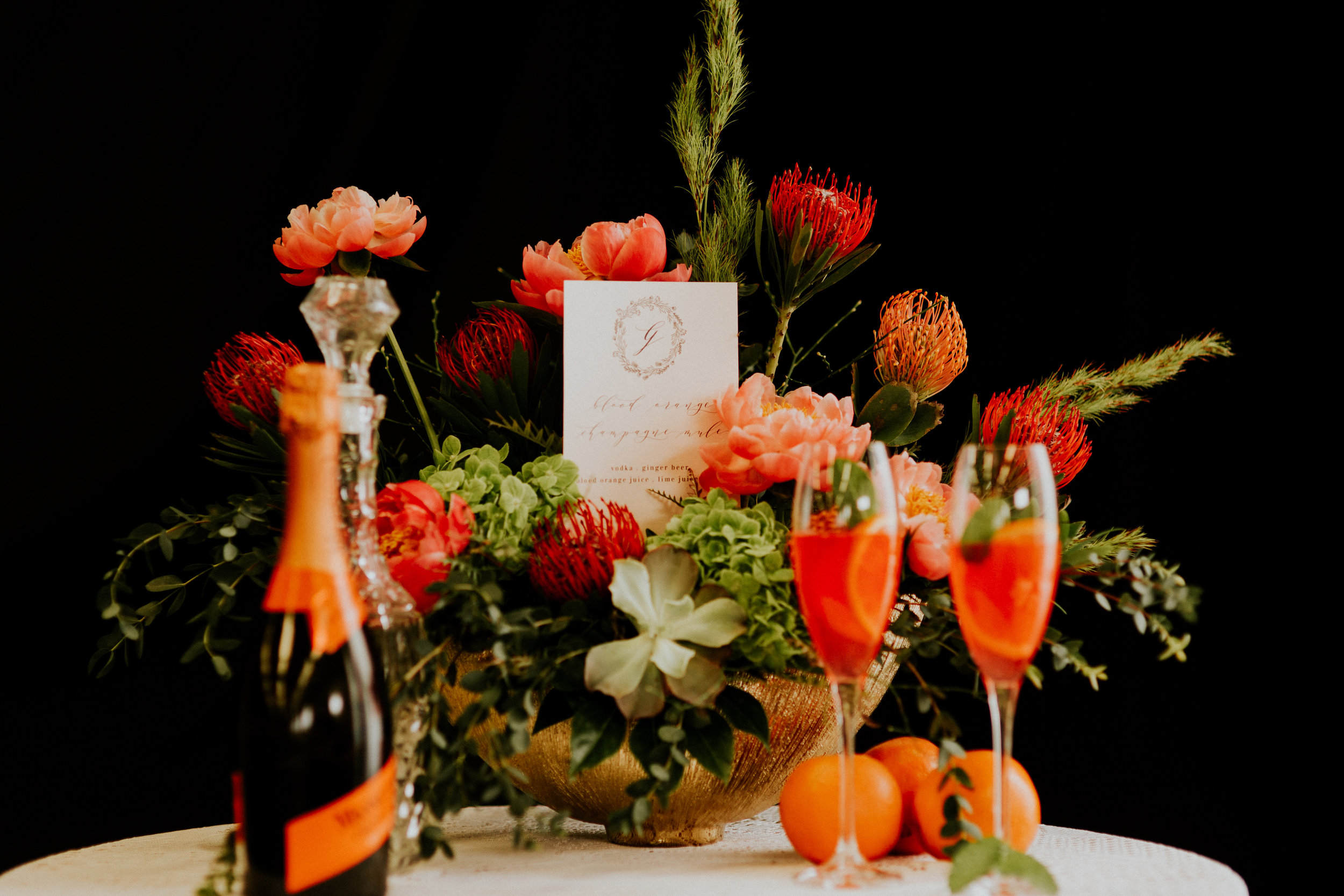 Orange Wedding Ideas - A Custom Cocktail and Stationery / Styled by Event Prep with Photography by Adore Wedding Photography and Florals from Beautiful Blooms by Jen