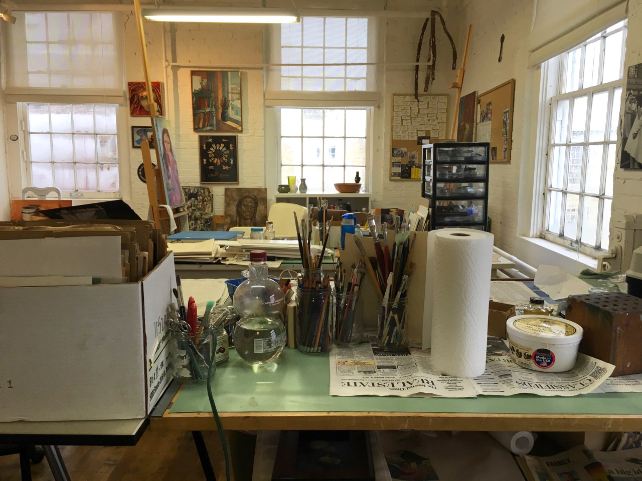 A view of one of our artist's working studio space.