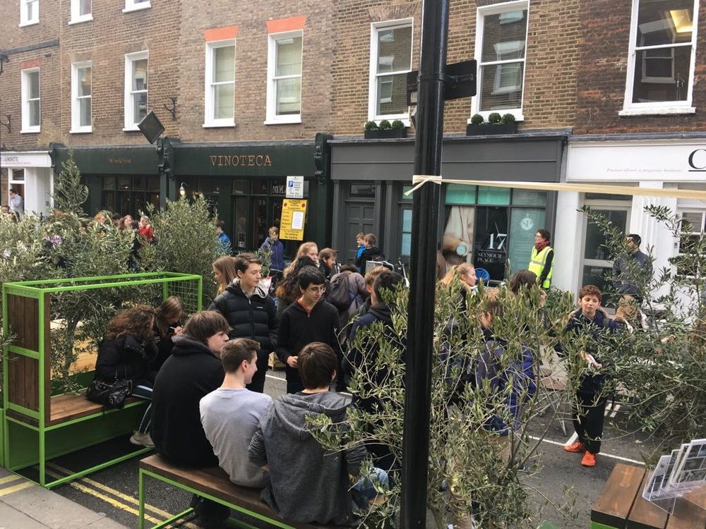 On street parklet showing the potential of pedestrianisation