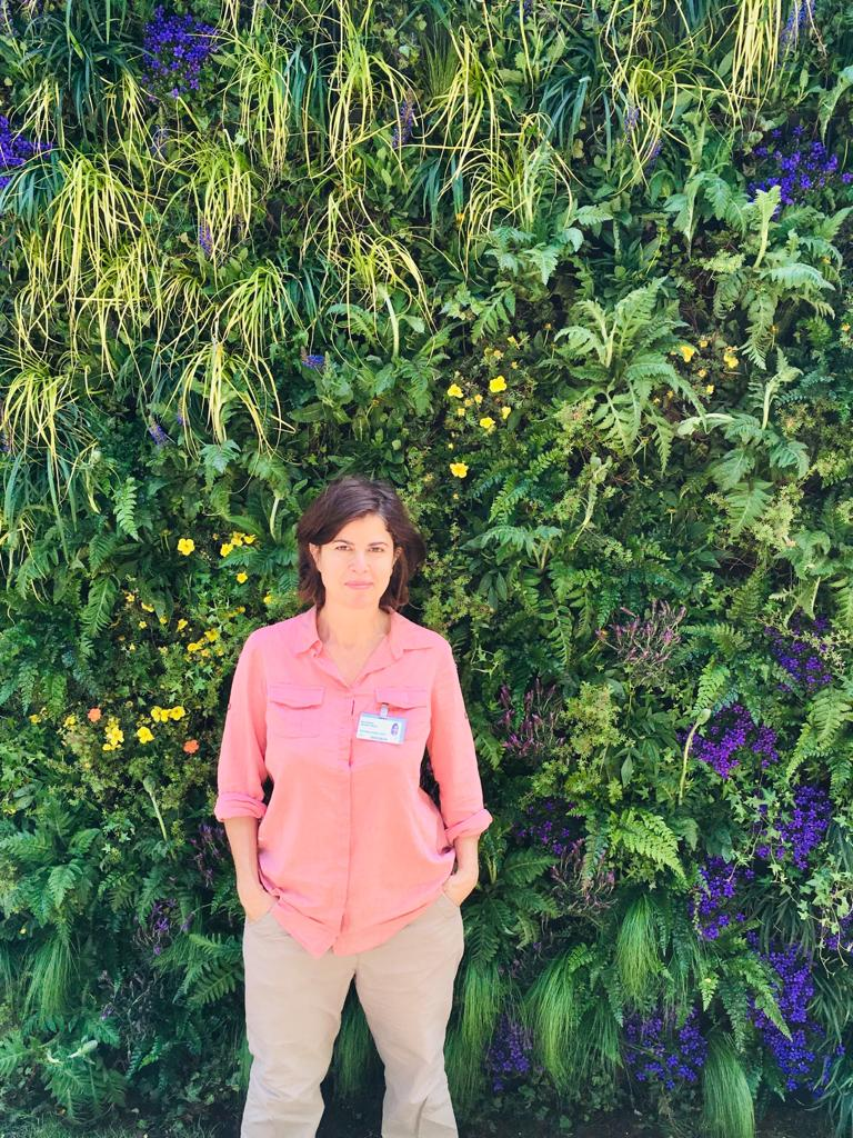 Nina in front of the RHS Chelsea 'Selfie' Living Wall