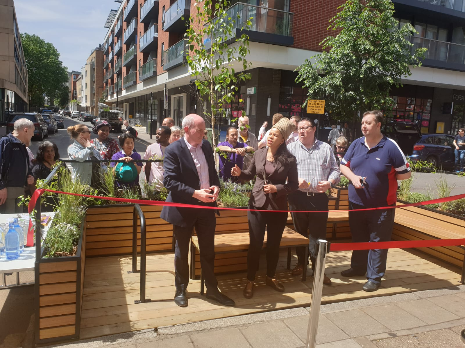 Cutting the ribbon at St Lukes Parklet, Islington