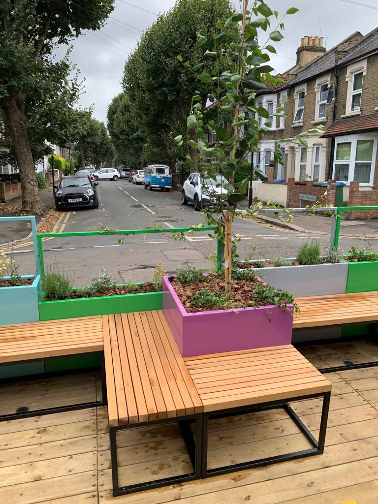 Seating at Winchelsea road parklet