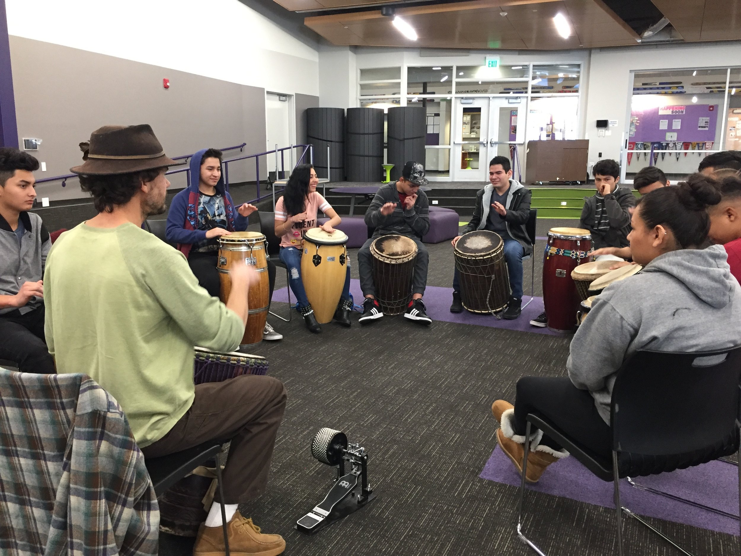 Six-week drumming residency at  Basalt High School  with Leticia Ingram's newcomer students.