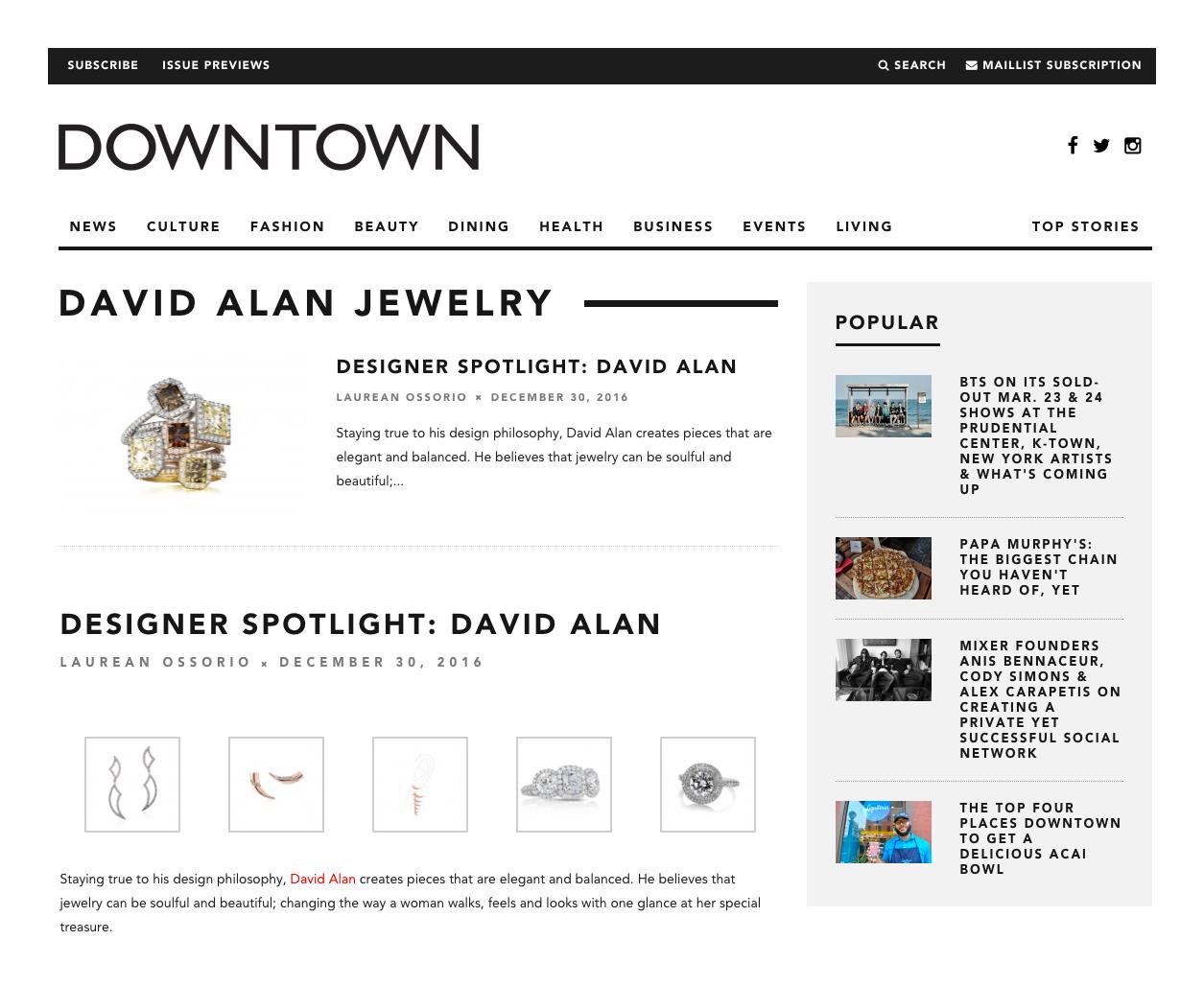 David Alan Jewelry Press, Downtown