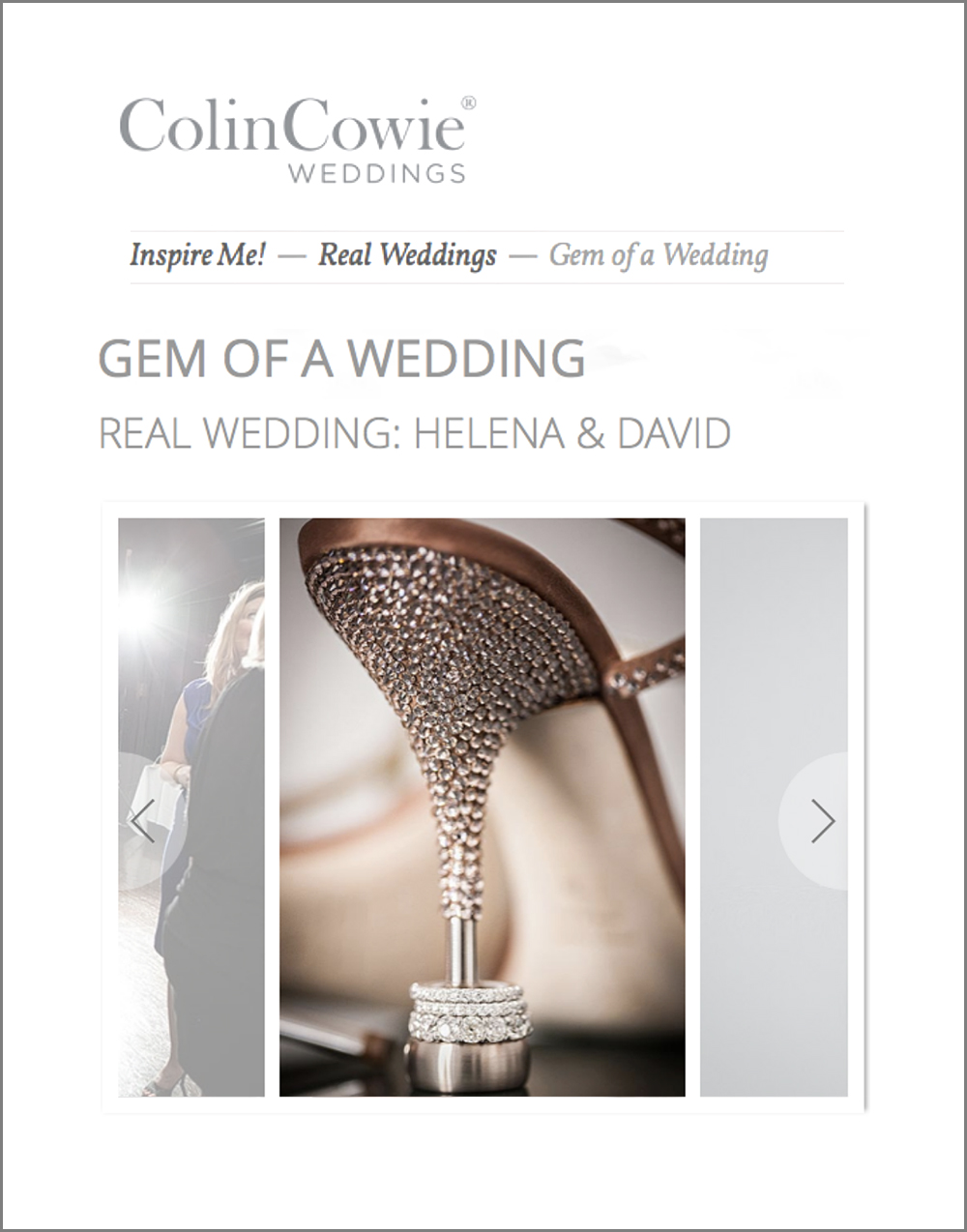 David Alan Jewelry Press, Colin Cowie Weddings