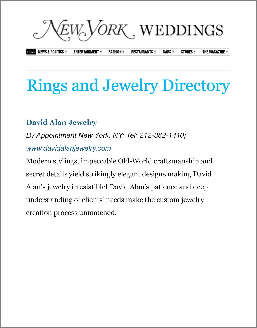 David Alan Jewelry Press, New York Weddings