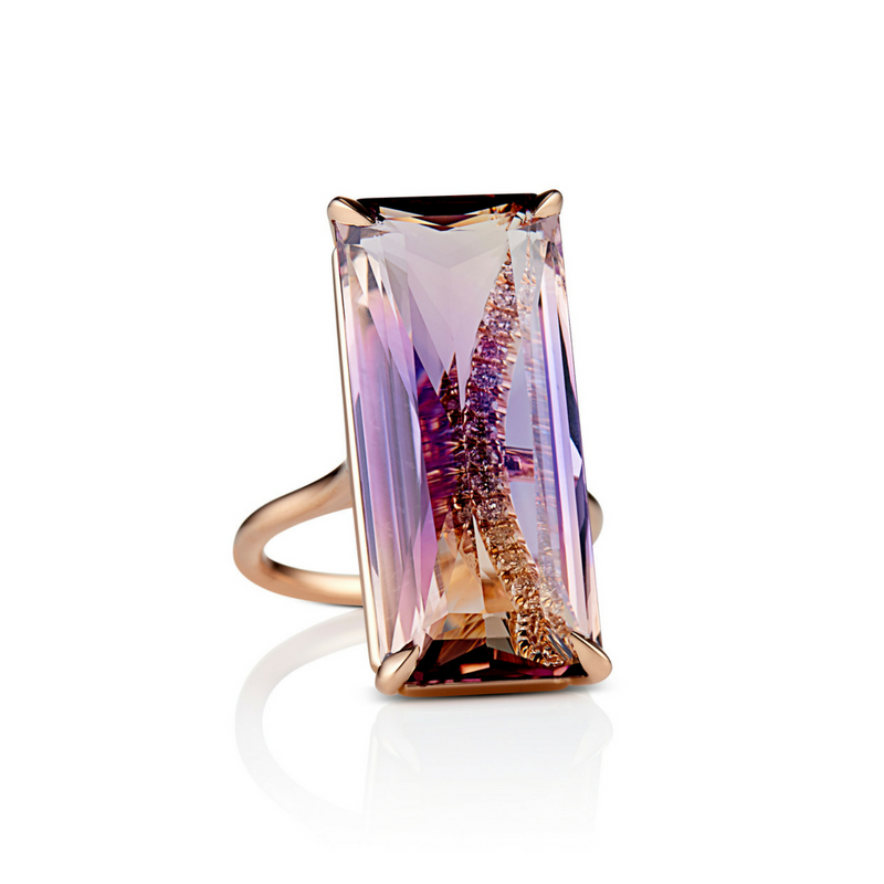DAVID ALAN Ametrine Cocktail Ring - Custom, Not Customary Fine Jewelry made by hand in the heart of New York City.For those whose love of color can't be denied, opt for an interesting ametrine cocktail ring. This gemstone features both amethyst and citrine in the same gemstone, sure to prompt conversations over sunset cocktails.To purchase or book an appointment in Manhattan or The Hamptons: