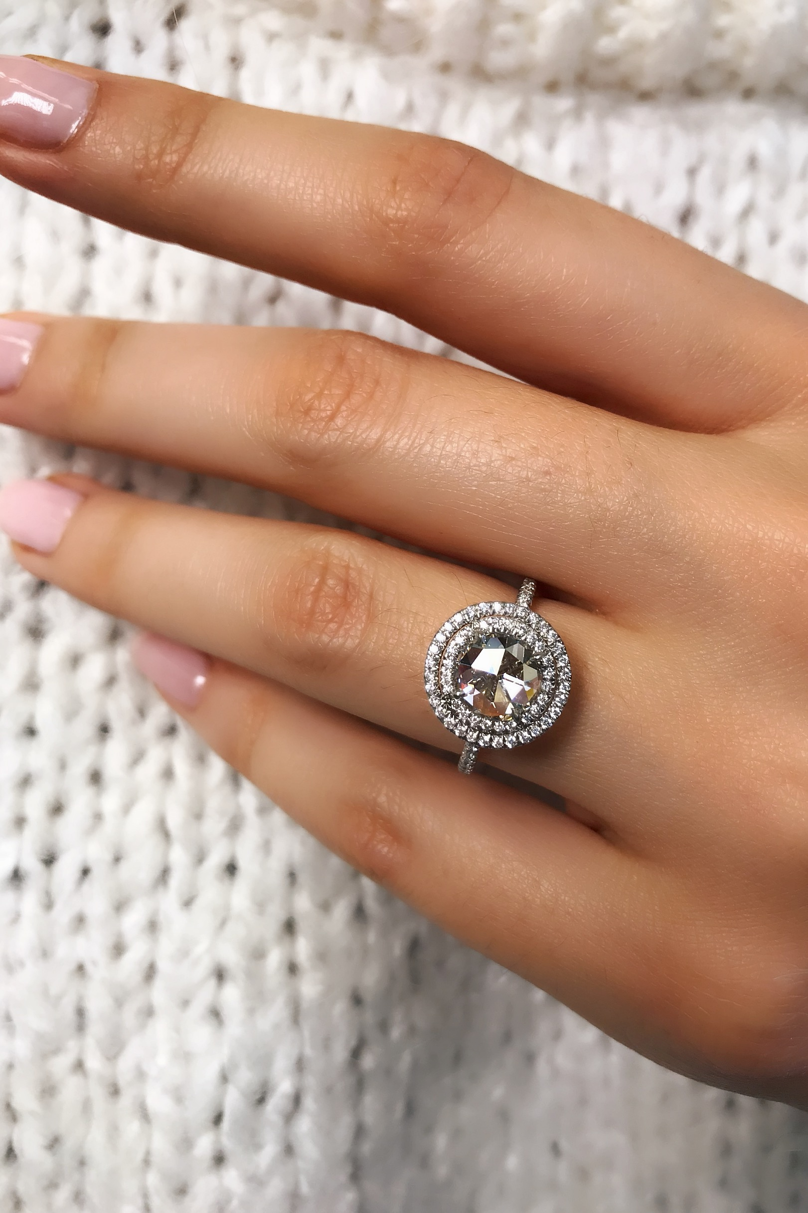 Round Diamond double Halo Engagement Ring In Platinum - This diamond engagement ring with double halo adds dimension and volume to a round rose cut diamond! This feminine engagement ring with large facets and a subtle sparkle feels like a vintage antique diamond engagement ring.