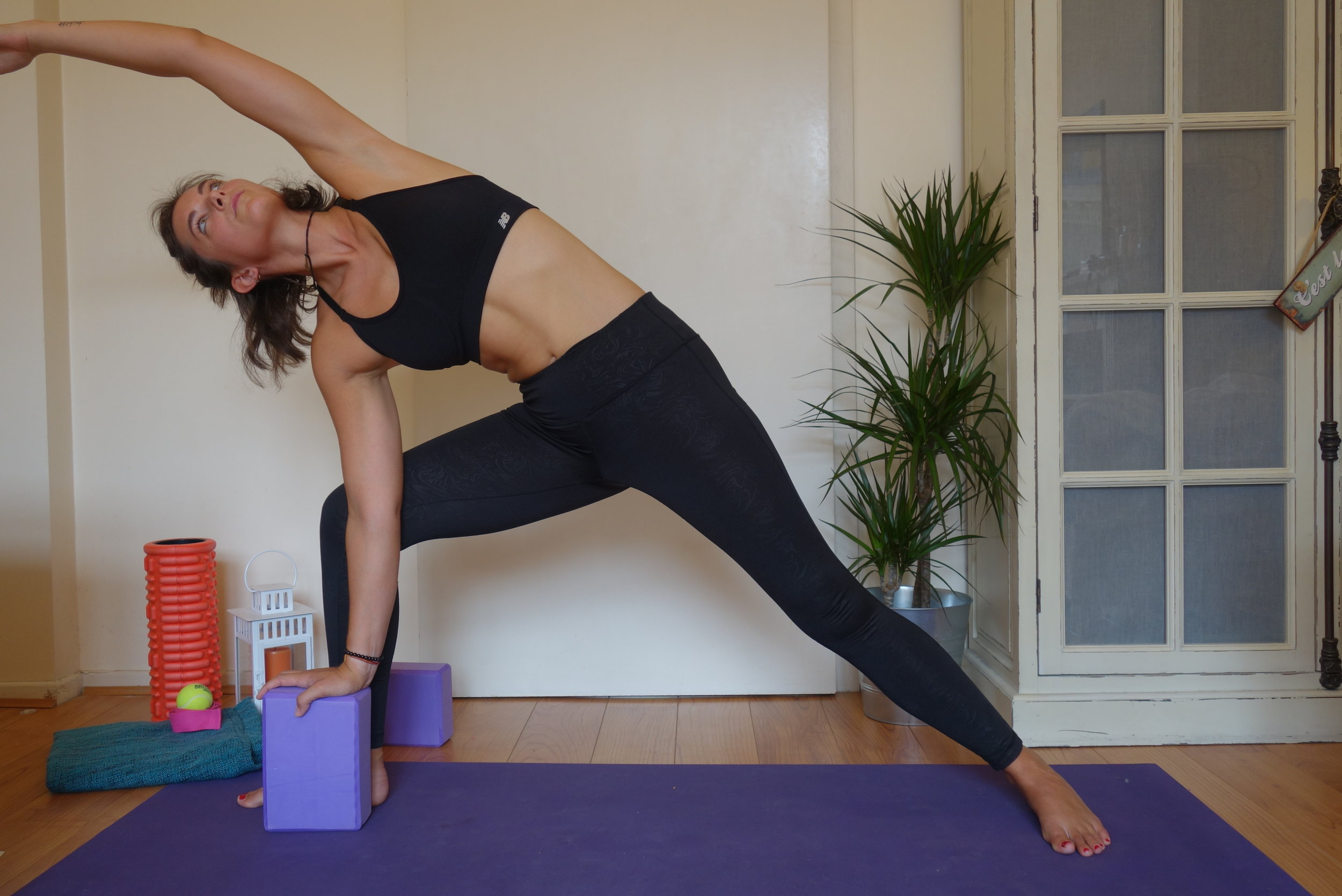 side angle pose with block