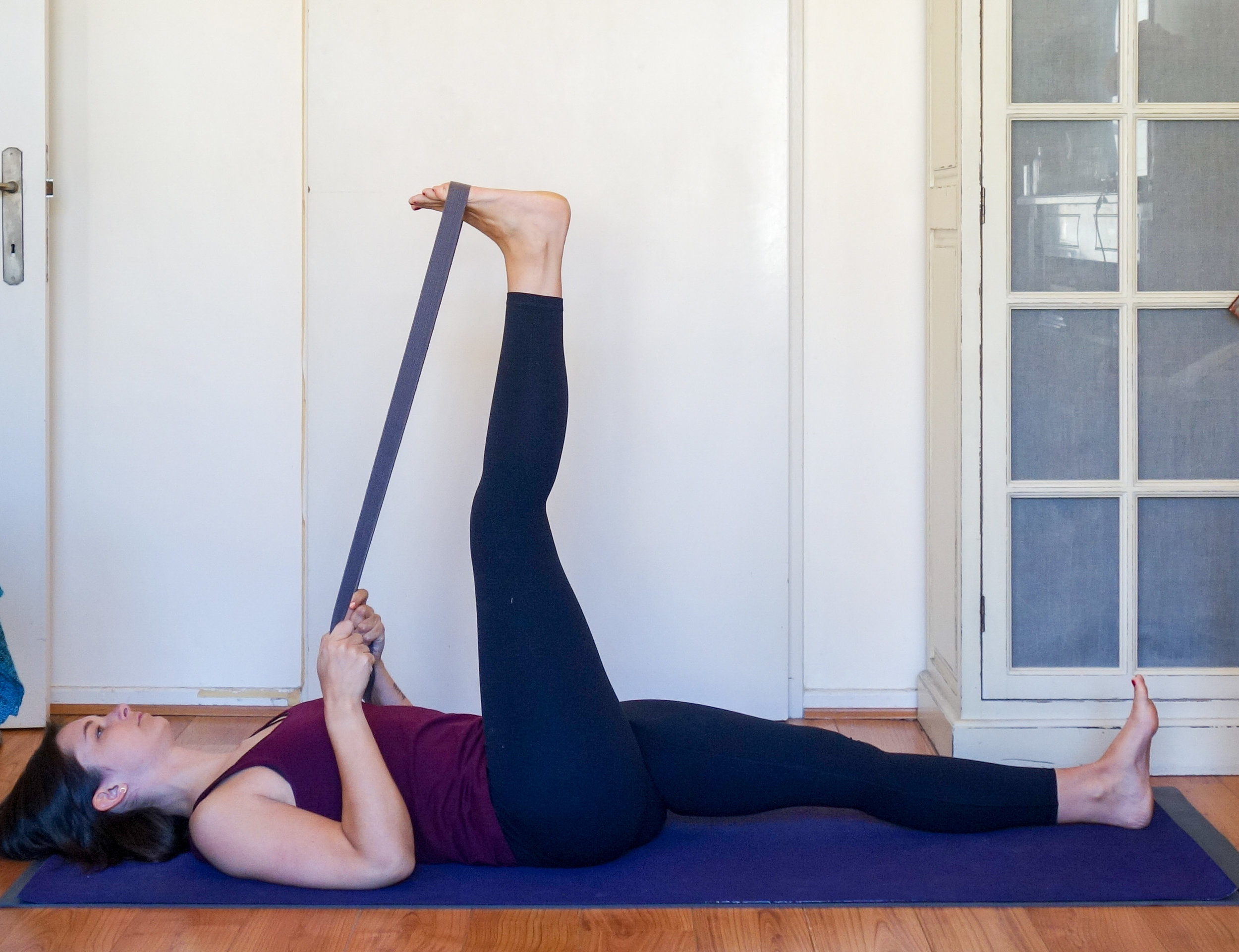Reclined hand to foot pose