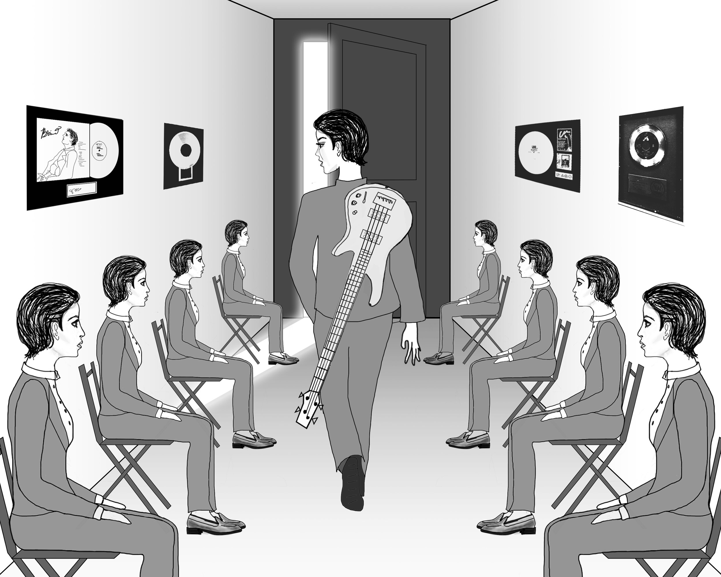 Our main character is a lowly bass player, who shows up to an audition alongside a million women who look just like her. We begin with her walking down a hallway and all these identical-looking women turning their heads to the beat of the music. They look at her with disdain.