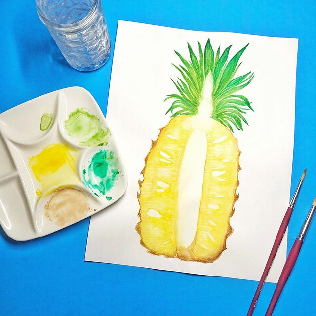 I attempted to paint my favorite fruit and this ended up being such a fun project! I'm going to digitize this bad boy and maybe I'll paint a few others. 🍍🍍🍍 #pineapple #fineapple . . . . #lettersandpaiges #illustration #watercolor #watercolorartist #modernwatercolor #watercolorph #watercolorillustration #brushlettering #fineliner #lettering #calligraphy #procreate #letters #moderncalligraphy #handmade #florals #floralsyourway #logodesign #painting #drawing #botanical #watercolortutorial #letteringtutorial #illustrationow #painting #art_we_inspire #surfacepattern #watercolordaily