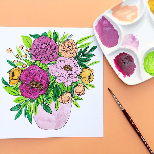 "I had way too much fun taking @thepigeonletters' @skillshare class last night and the time quickly escaped me as 3 hours flew by and I did waaaaaay more details than Peggy recommended. I definitely gave the ""extra"" gene and just kept adding more 😂  This class was super fun and informative and I have a whole new appreciation for my gouache paints! 🎨🎨🎨 #gouacheflorals #gouache . . . . #lettersandpaiges #illustration #watercolor #watercolorartist #modernwatercolor #watercolorph #watercolorillustration #brushlettering #fineliner #lettering #calligraphy #procreate #letters #moderncalligraphy #handmade #florals #floralsyourway #logodesign #painting #drawing #botanical #watercolortutorial #letteringtutorial #illustrationow #painting #art_we_inspire #surfacepattern #watercolordaily"