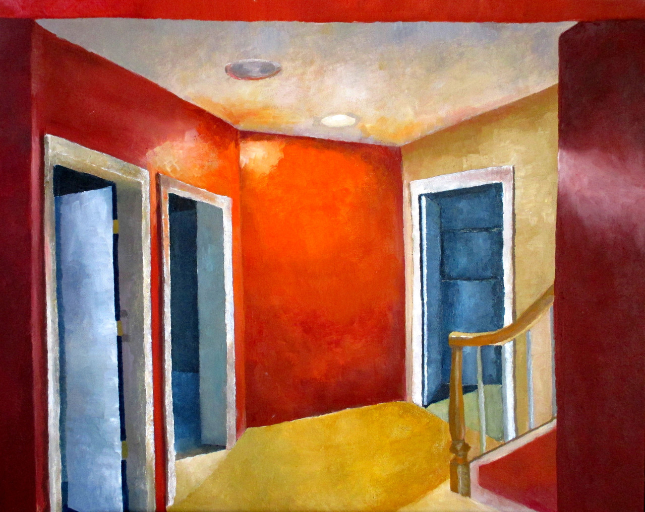 Observational painting of interior of basement -- Oil paint