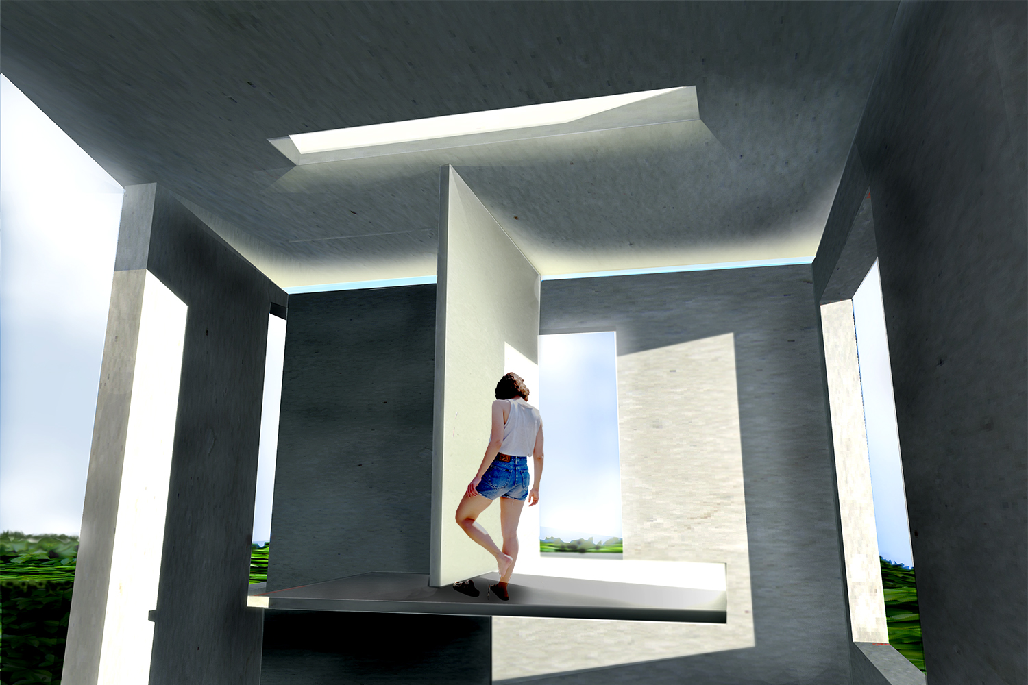 Perspective rendering of interior of first year cube house project with scaled figure.