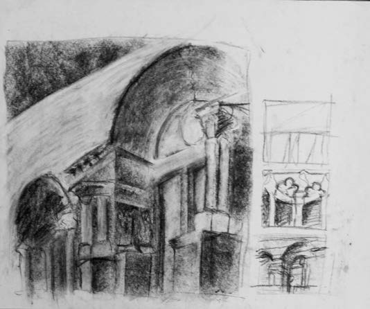 Charcoal values study of architecture exhibit at the Carnegie Mellon Museum of Art