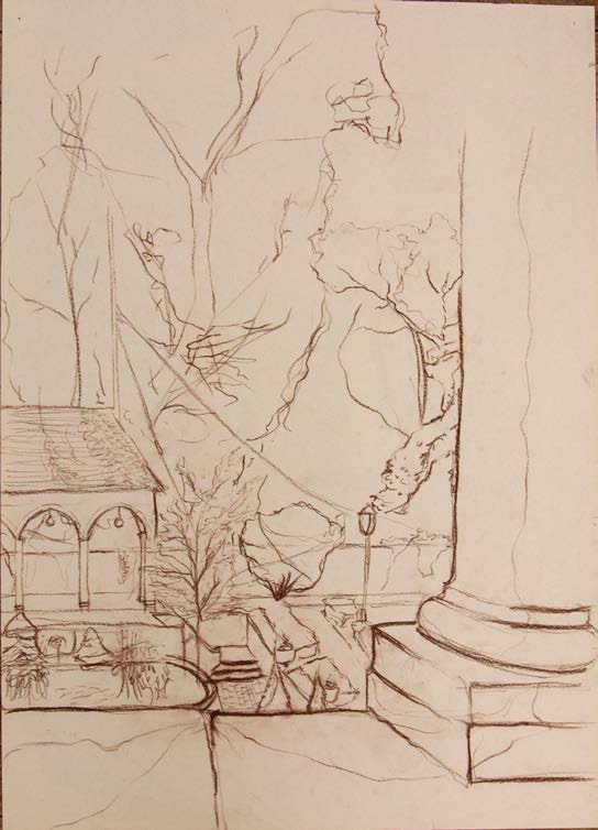 Conte crayone contour study of Mudge House gardens from balcony
