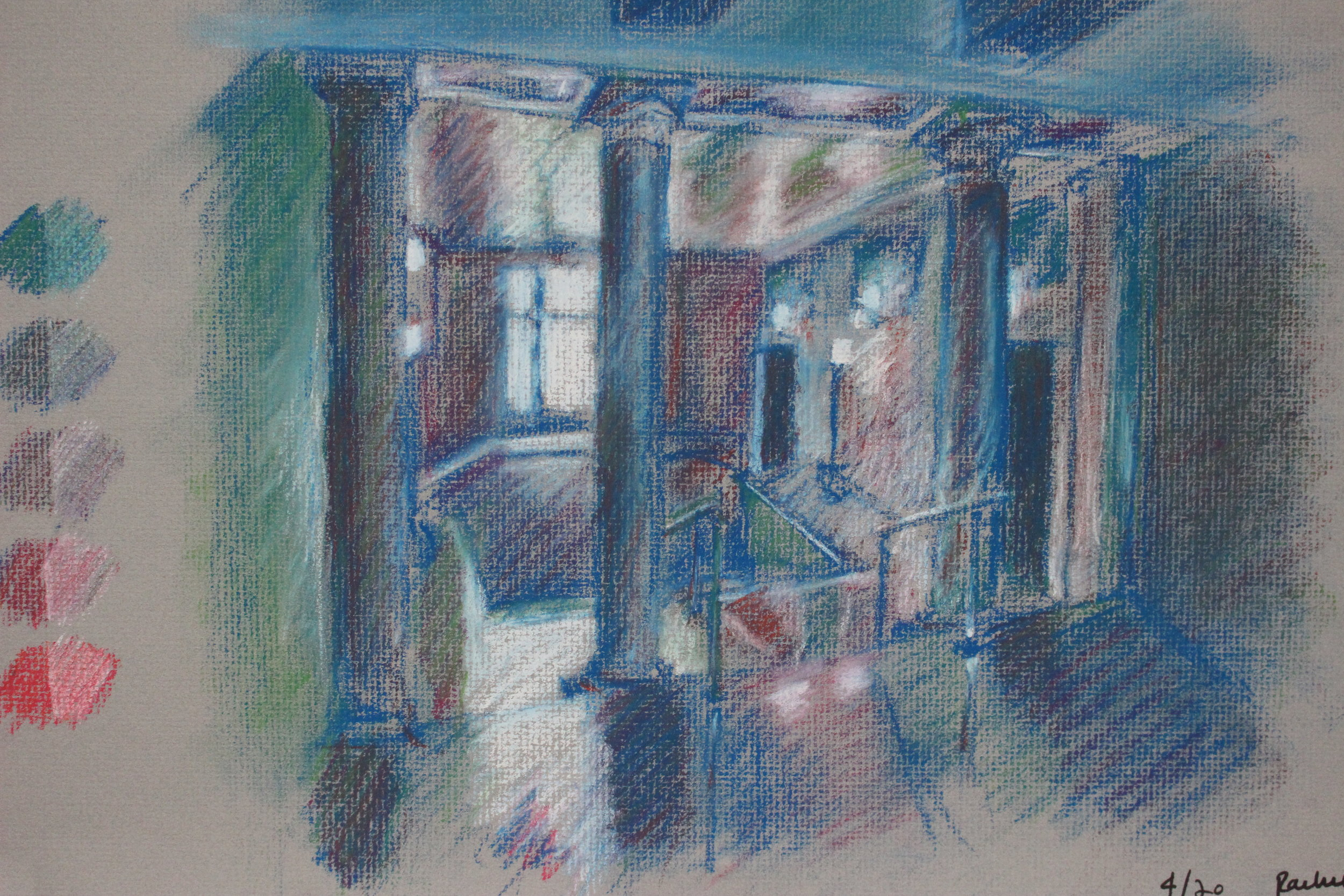 Interior color pastel study of College of Fine Arts space