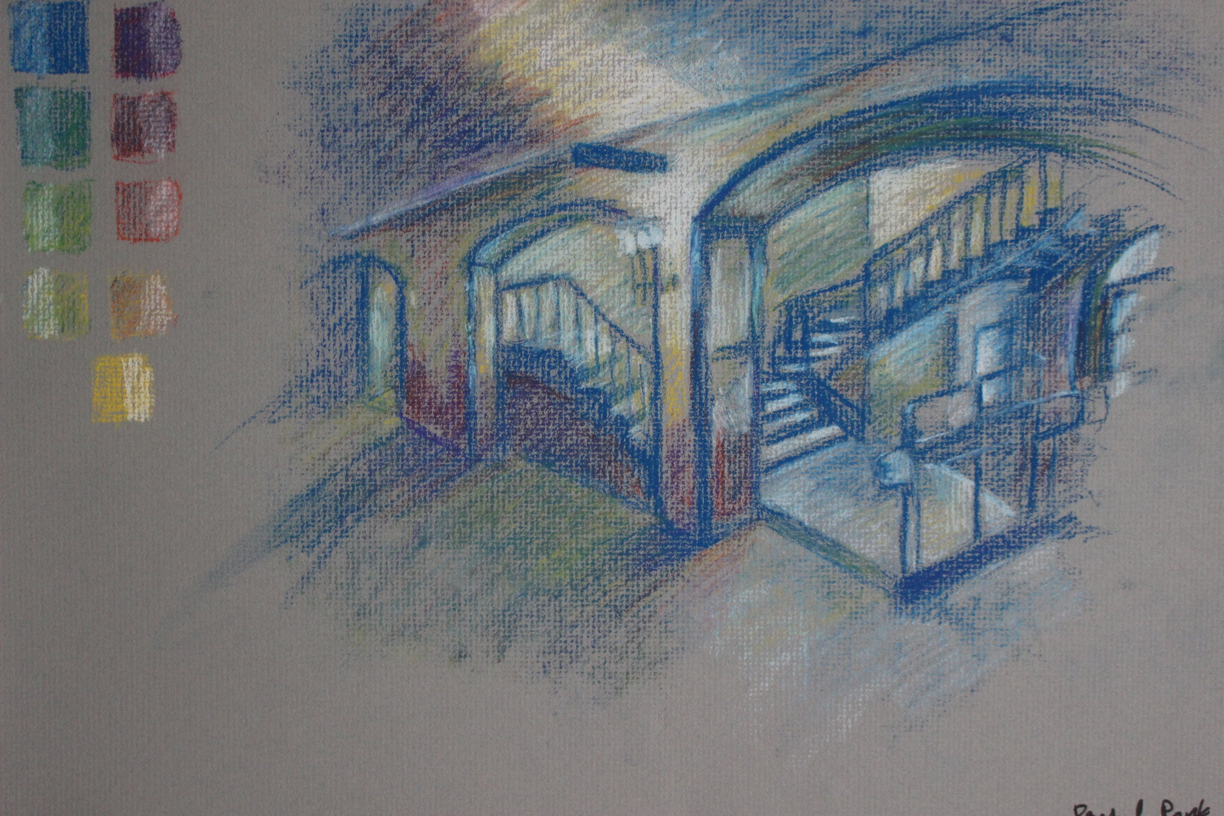 Color pastel study of Baker hallway