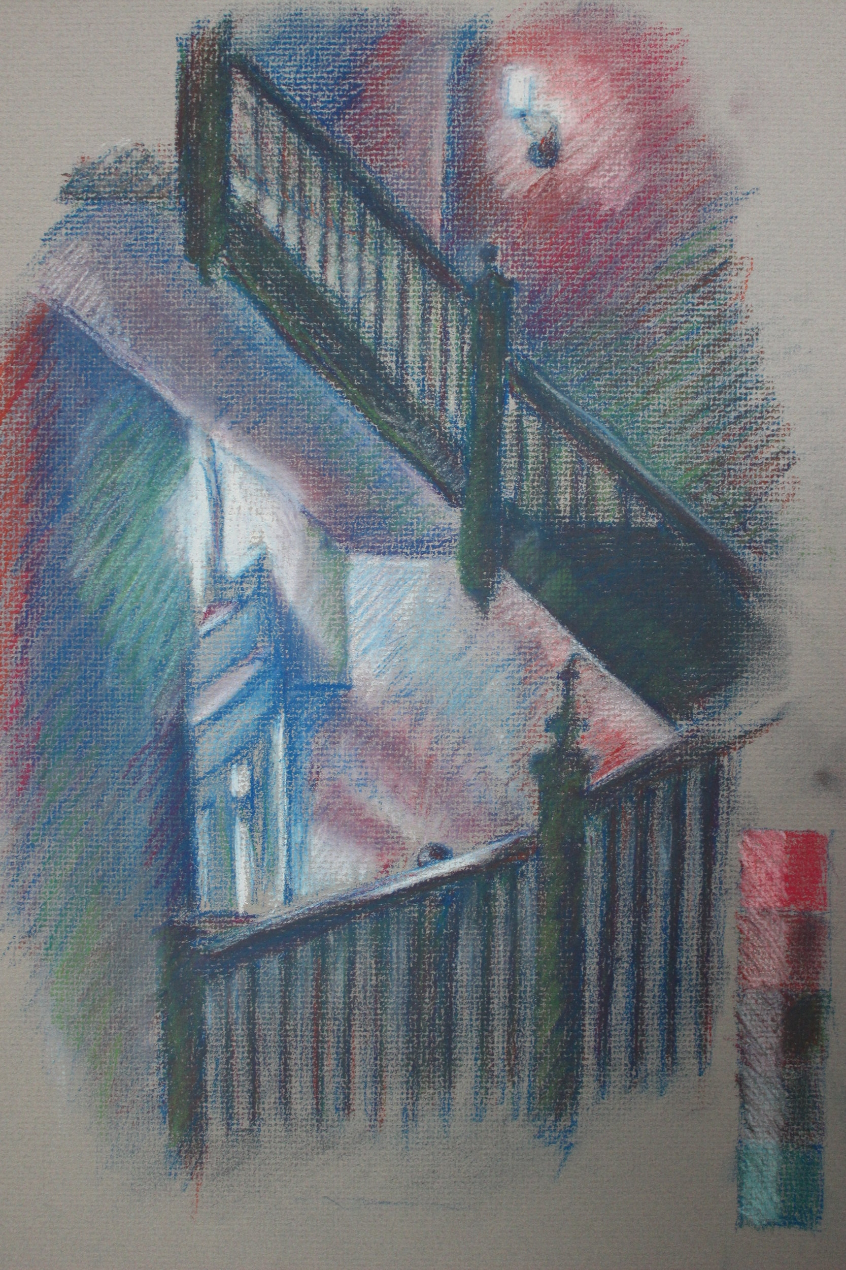 Color pastel study of Margaret Morrison building stairs