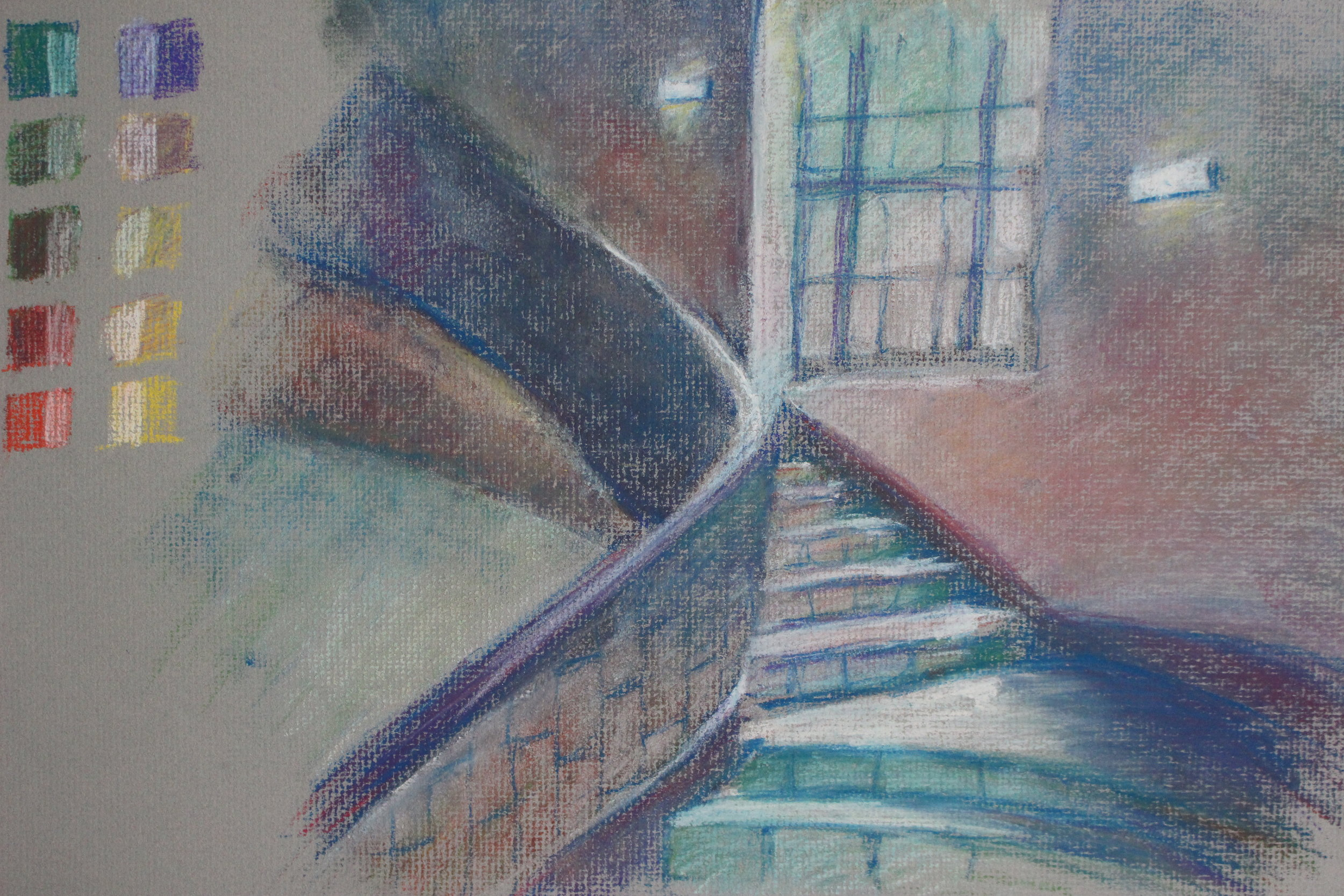 Color pastel study of Baker hall staircase