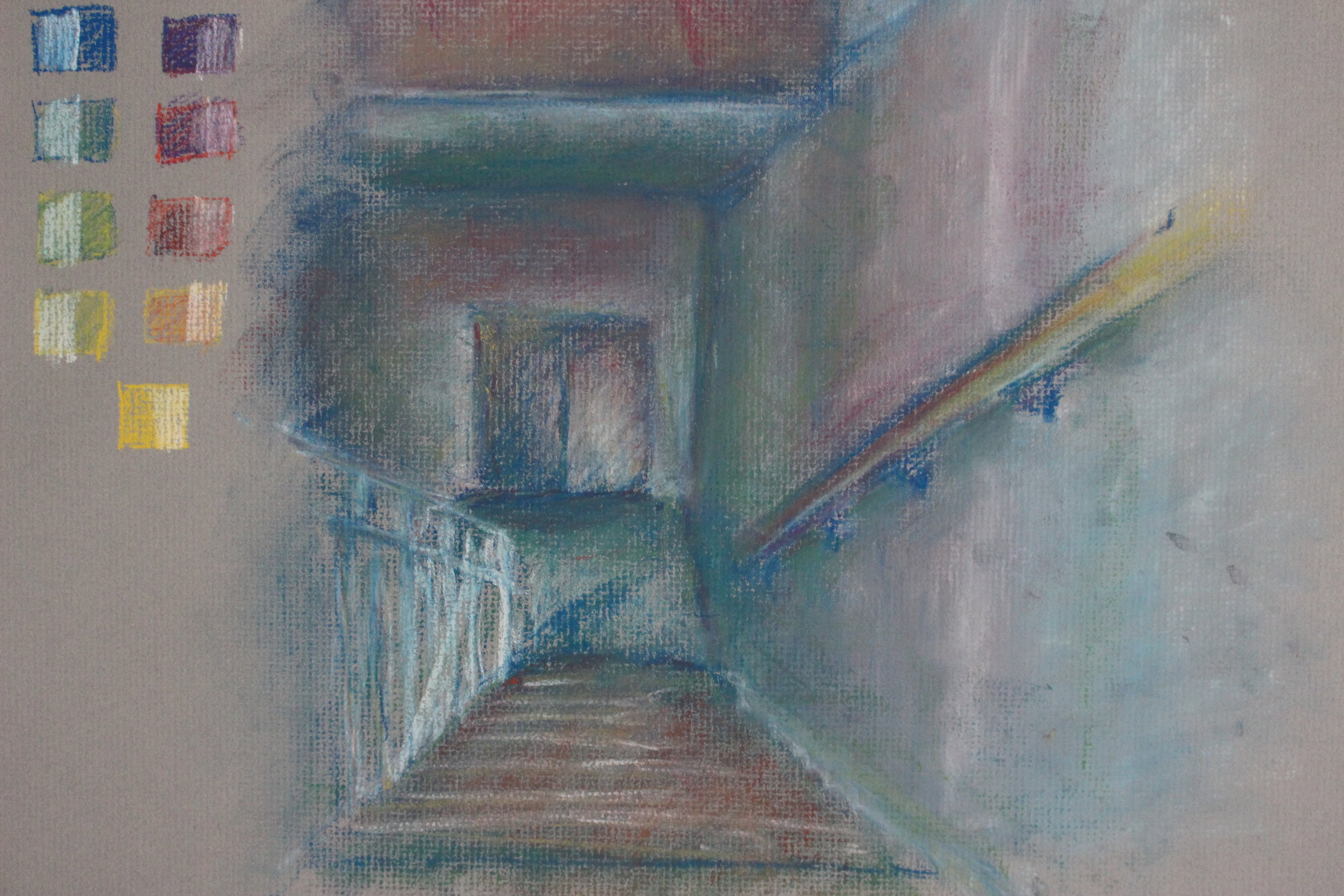 Color pastel study of Margaret Morrison egress stairway