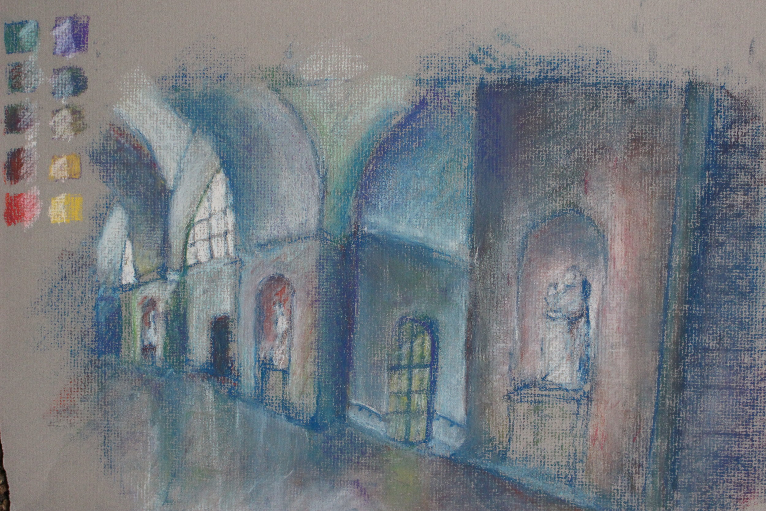 Color pastel study of CFA Great Hall