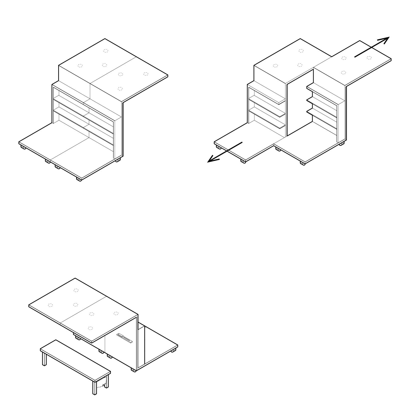 Axonometric diagrams for possible movable soft seating/ reading area situated within the ThinkLab space