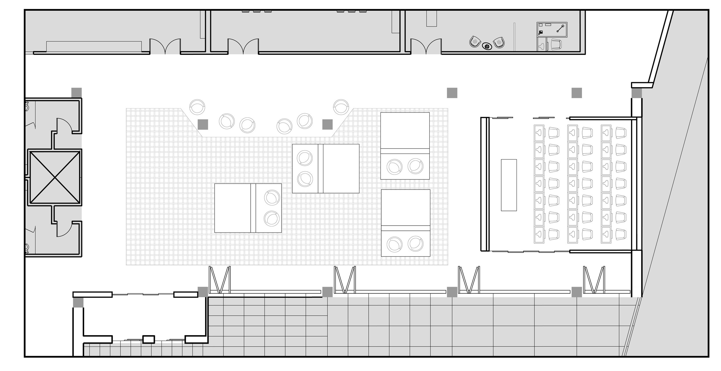 Zoom-in of first floor plan of the ThinkLab area