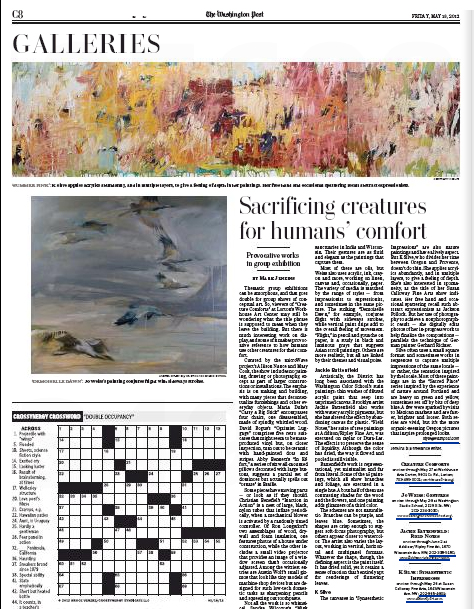 """— The Washington Post, Living Section May 18, 2012  Silve's Painting """"Summer Pink"""" was the featured image for the Galleries in the Living Section. Mark Jenkins wrote a review about my exhibition """"Synaesthetic Impressions"""" at Susan Calloway Fine Art."""