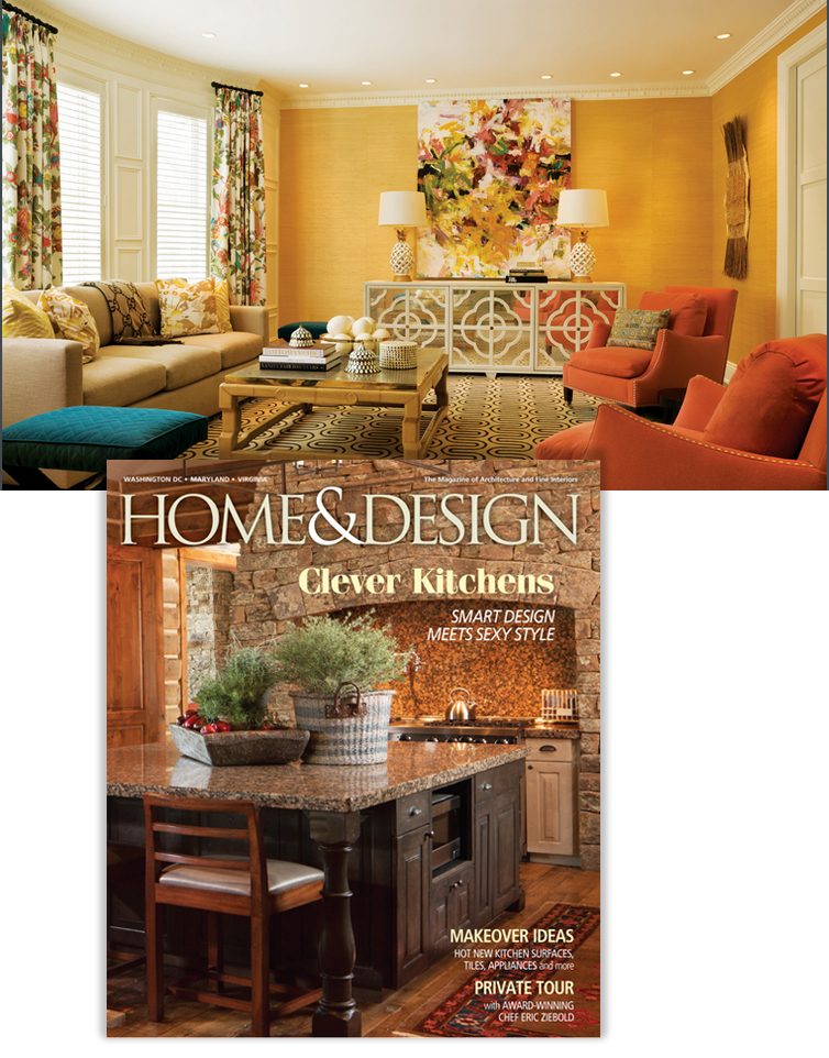 """— Home & Design Magazine, Jan/Feb, 2016  """"Casual Chic - A design team brings form and function to a faded house in Foxhall Crescent"""", Pages 142-148. By Catherine Funkhouser. Photography by Gordon Beall."""