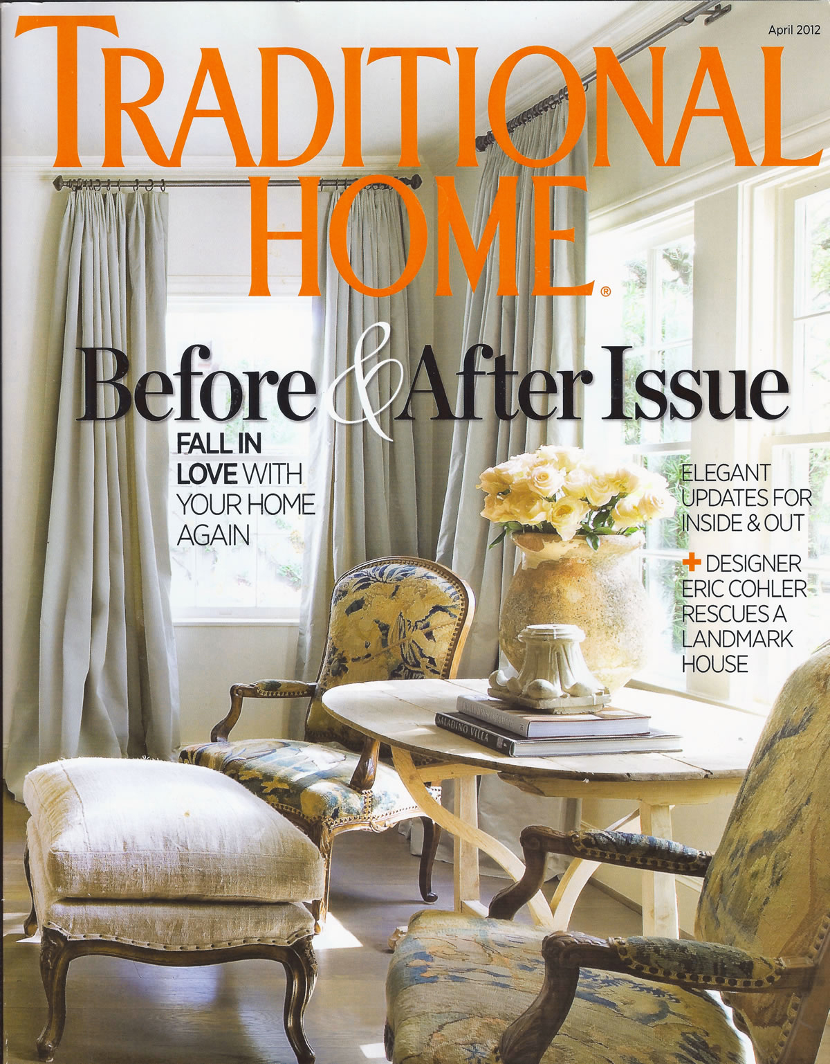 """— Traditional Home Magazine, Before & After Issue April, 2012  Silve's artwork featured in """"Marshal Arts, an orderly design strategy leads a Washington, DC mom to functional-and gergeous-results"""" Written by Krissa Rossbund, Photography by Francesco Lagnese, produced by Eileen A. Deymier. Page 116-117."""