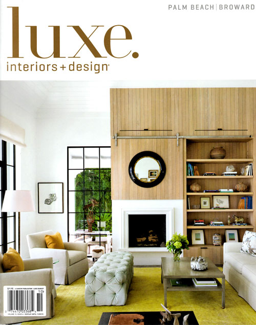 """— Luxe. Interiors + Design, Palm Beach/broward, sept/Oct, 2015  Karen Silve's artwork is featured in """"Creative License Living Room, Cues from a famed fashion house result in a dynamic design by Robert Passal featuring sumtuous Fabrics and Standout colors."""