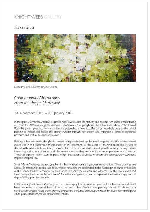 — Press Release: Karen Silve, Contemporary Abstractions from the Pacific Northwest, November, 2015