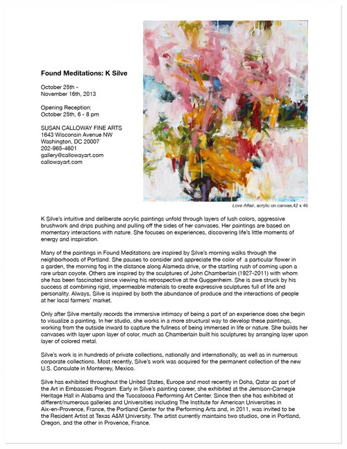 — Press Release: K Silve, Found Meditations, October, 2013