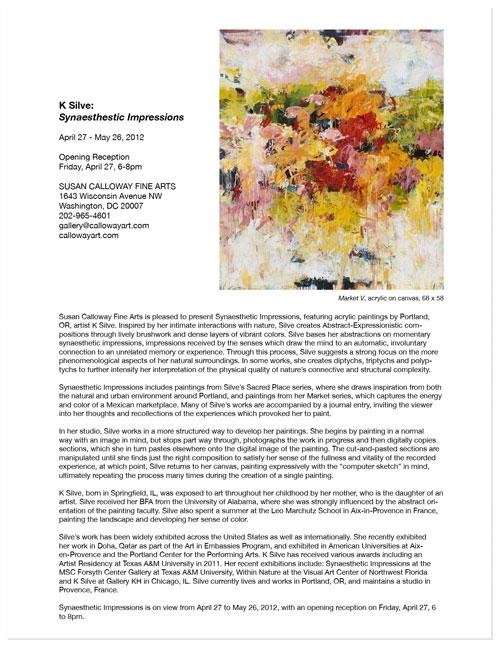 — Press Release: K Silve: Synaesthestic Impressions April, 2012