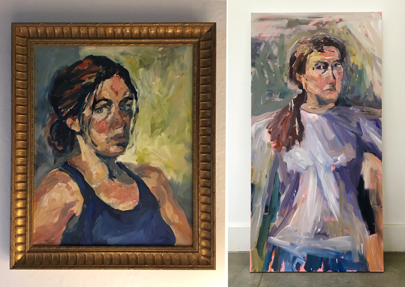 Self portrait in my late 20's, and one in my late 40's.